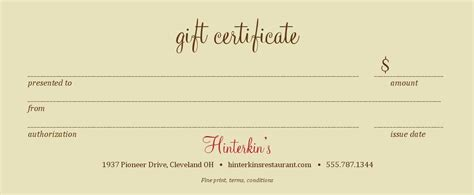 Restaurant Gift Card Template Free by Restaurant Gift Certificate Template 2 Best Sles