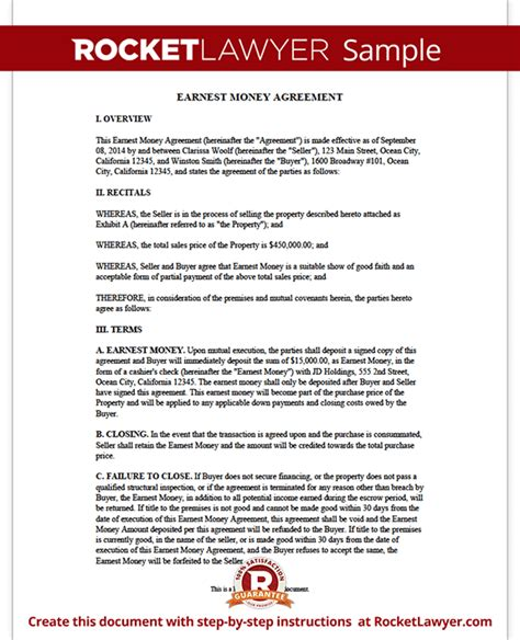 earnest money deposit agreement template earnest money agreement