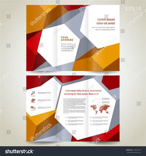 brochure design template trifold leaflet colored 3d