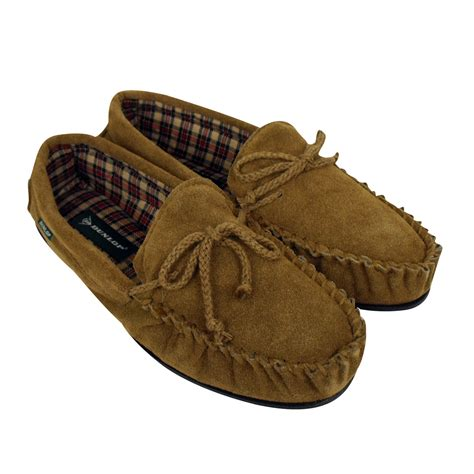 mens moccasin house shoes men dunlop moccasin suede leather slippers moccasins slipper size 7 5 12 5 ebay
