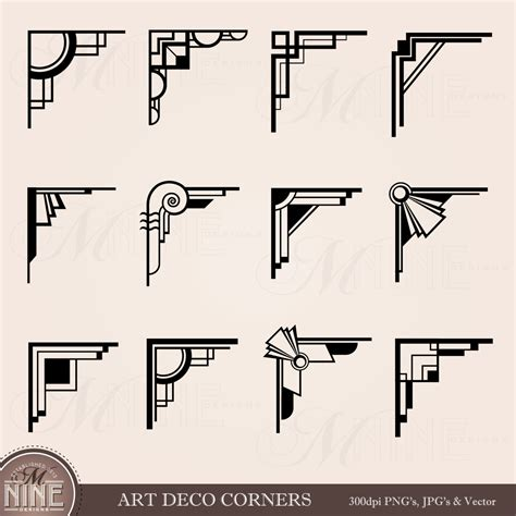 art deco design art deco corners clipart digital clip art instant download