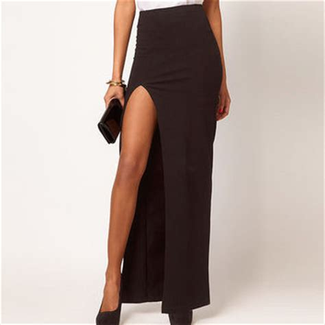 black side slit maxi skirt from