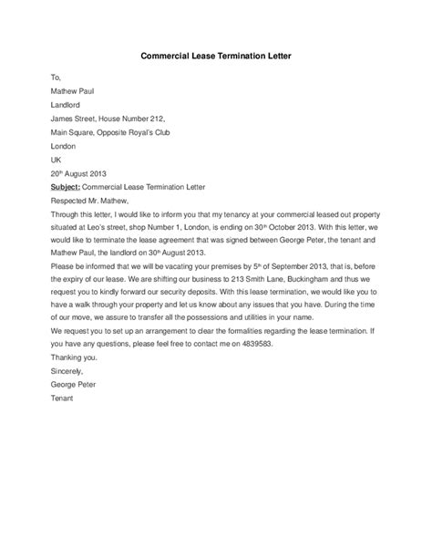 commercial lease termination letter templates word