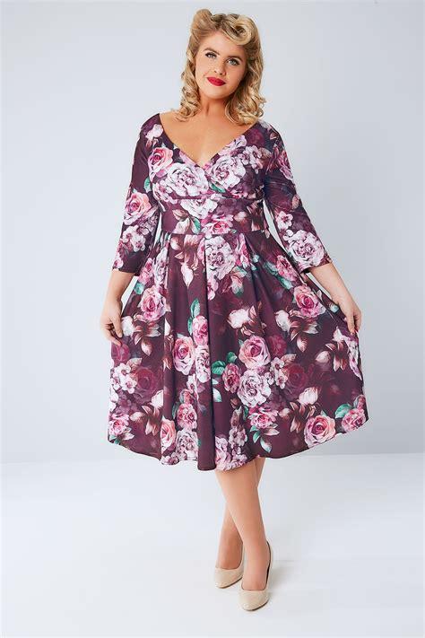 clothes for 65 women lady voluptuous purple rose print marchella dress plus