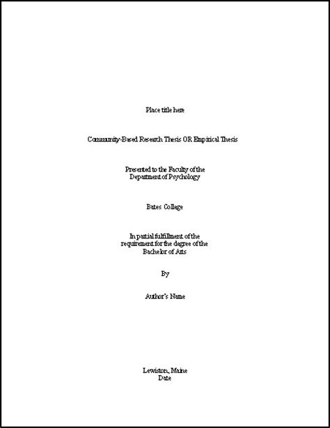 thesis title page template psychology bates college