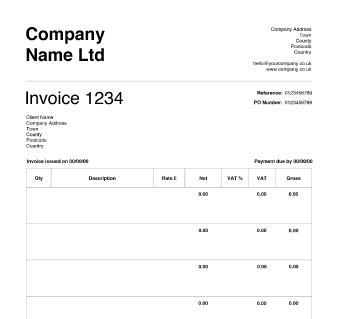 free invoice templates for sole traders limited