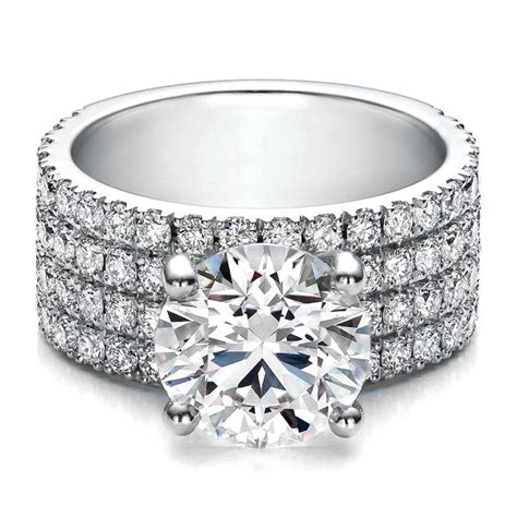 large four row pave engagement ring