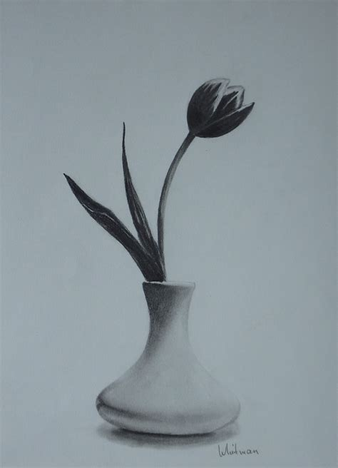 Sketch Of A Vase by Pencil Sketches Of Flower Vase Drawing Of Sketch