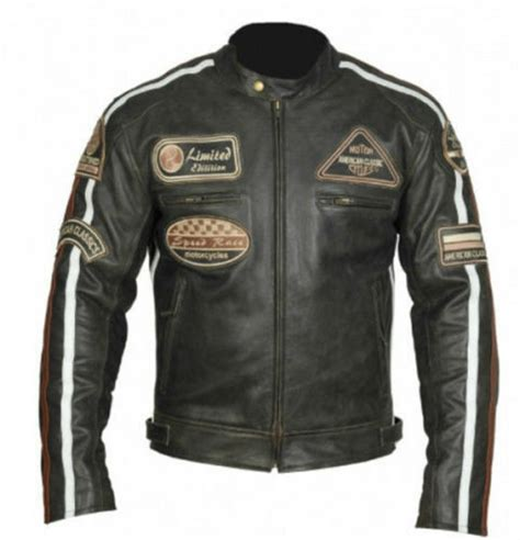 Longch Cuir Leather S Original classic motorcycle biker brown distressed vintage