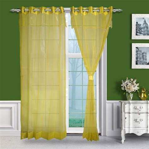 Yellow Linen Curtains Buy Just Linen Pair Of Yellow Eyelet Layered Sheer Curtains With Skirt
