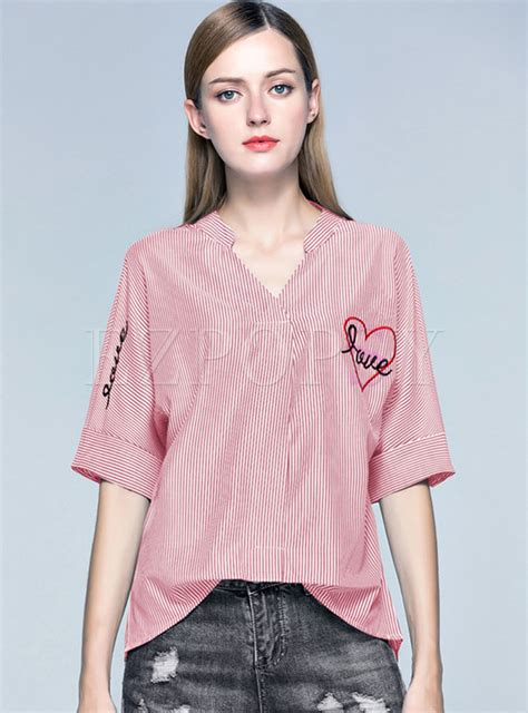 Sale Blouse Batwing Merah asymmetry striped embroidered batwing sleeve blouse ezpopsy