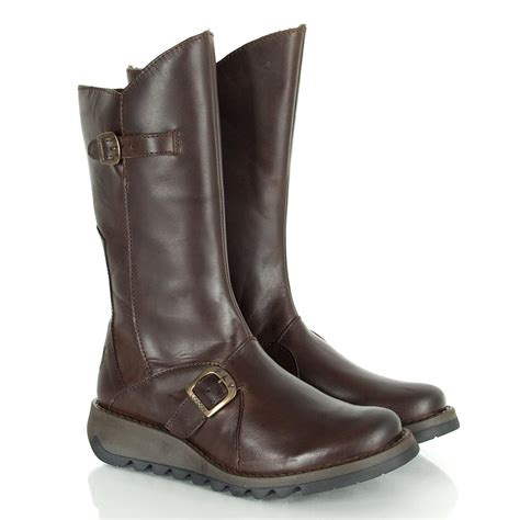 s flat boots fly brown mes 2 women s flat boot