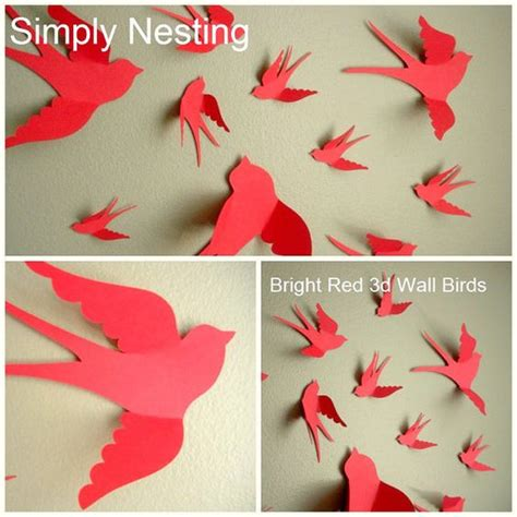 How To Make 3d Birds From Paper - 20 paper wall birds choose your color by simplynesting
