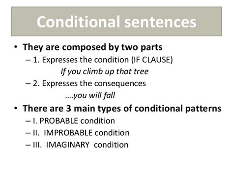 the pattern of conditional sentences unit 7 3 186 eso
