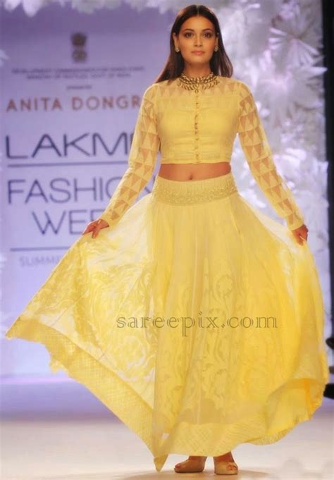 At Lfw by Dia Mirza Lehenga At Lfw 2014