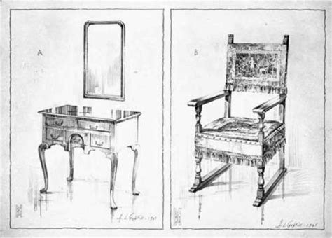 pencil sketches of chairs interiors and furniture part 3