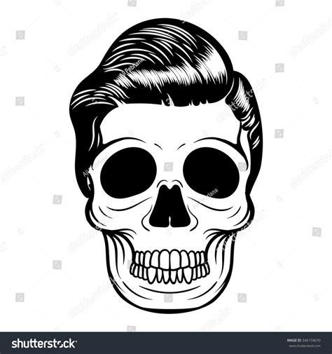 Pomade Skull skull badge stock vector illustration 346159670