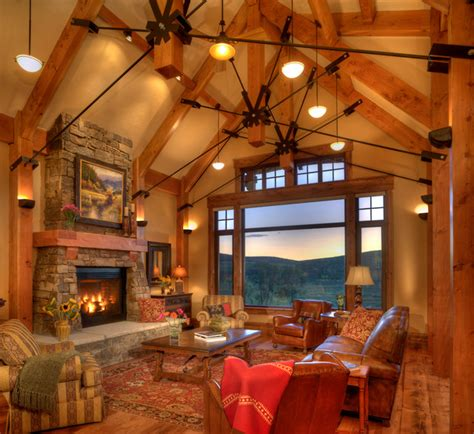 rustic great room design ideas lodge at trout creek great room rustic living room