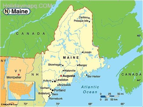 maine on map map of maine holidaymapq
