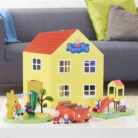 peppa pig house playset peppa pig peppa s deluxe family home house large playset with figure toy 3 ebay