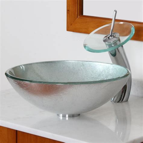 Vessel Sink Waterfall Faucet Combo by Bathroom Glass Vessel Sink With Silver Pattern Chrome