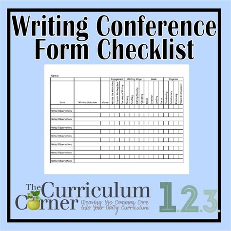 writing conference template checklist format writing conference form writing