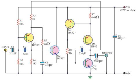 watt transistor tip 41 180 w lifier circuit electronic circuit diagram and layout