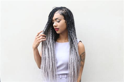 black to grey ombre box braids hairstyles catface hair black grey ombre jumbo braiding hair by