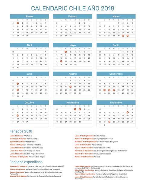 Chile Calend 2018 Calendario 2018 Chile 28 Images Calendario A 241 O