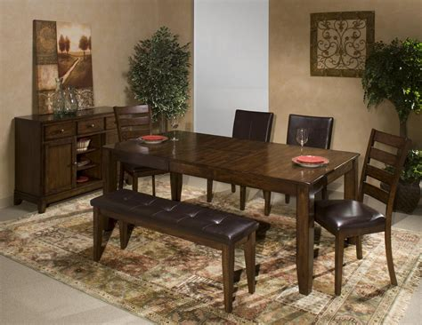 dining bench with wood seat by intercon wolf 6 piece dining room set with parson s and ladder back side