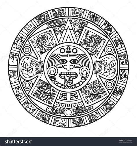 aztec calendar tattoos designs stylized aztec calendar raster version stock photo