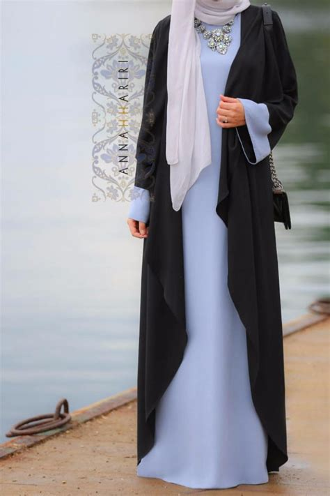 Mazaya Blus Abaya Model 15 4 abaya dress blue black annah hariri