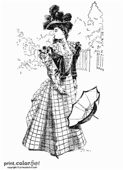 vintage dress coloring page woman in a vintage victorian dress coloring page print