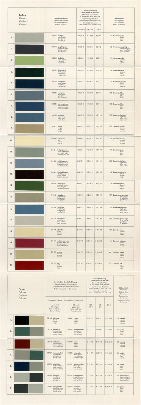 1960s mercedes color chart design color charts vintage colors and charts
