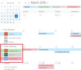 Office 365 Calendar How To Overlay Exchange Shared Calendar And