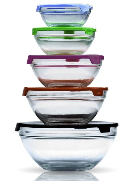Stackable Kitchen Glasses Lunch Bowls W Lids Kitchen Stackable Food Glass Storage