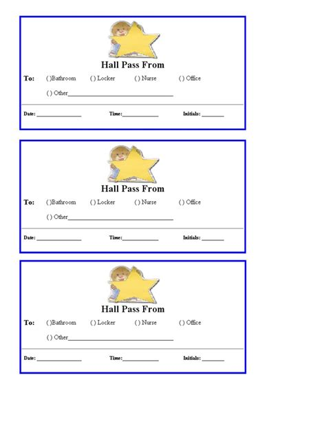 pass template free passes for school printables school
