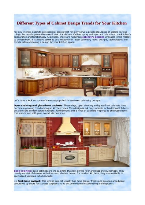 different types of kitchen types kitchen cabinets