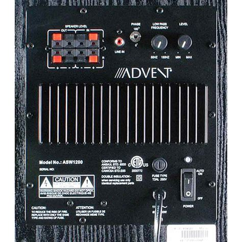 advent asw  powered subwoofer