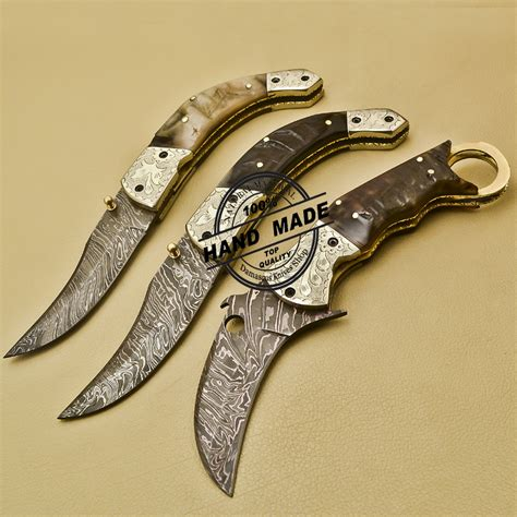 Custom Handmade Folding Knives - 3 pcs damascus folding knife custom handmade damascus steel
