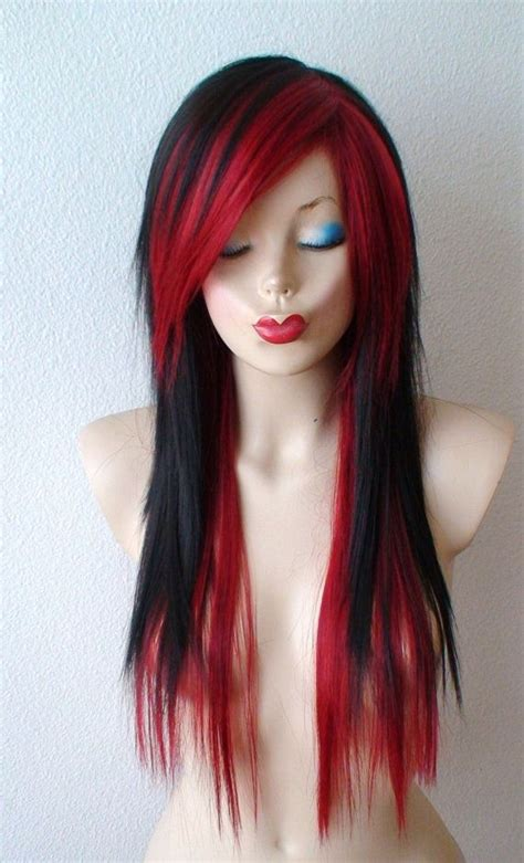 hairstyles for long hair wigs scene wig black wine red scene hairstyle wig emo by