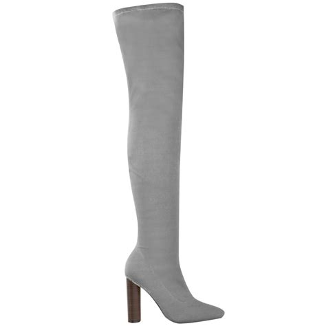 womens thigh high stretch knit boots the knee