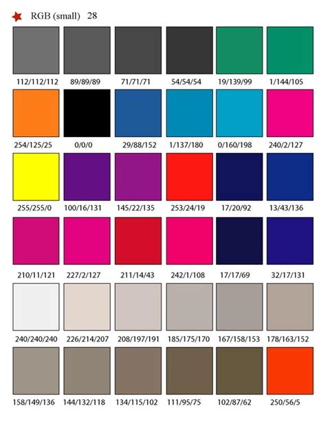 color swatches printable rgb color palette swatches my practical skills