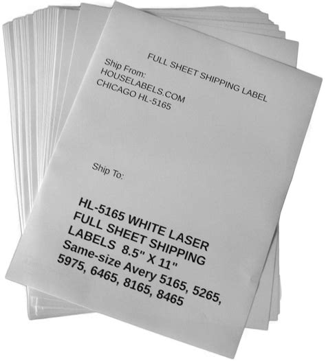 Self Adhesive Labels For All Printers Houselabels Com Print Full Sheet Shipping Labels Avery 8 5 X 11 Label Template