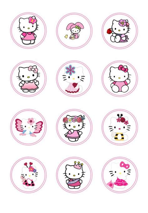 free printable stickers hello kitty diy instant download hello kitty birthday toppers hello