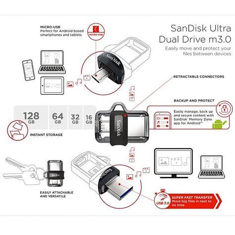 Sandisk Ultra Dual Drive Otg 128gb Usb 30 Garansi Resmi sandisk usb 3 0 pendrive ultra dual m3 0 otg usb microusb