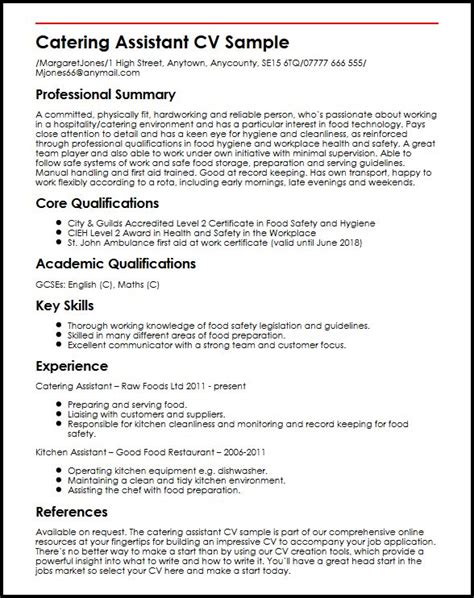 Resume Sample Health Care Assistant by Catering Assistant Cv Sample Myperfectcv