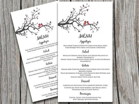 wedding menu templates for microsoft word bird wedding menu card template grey burgundy