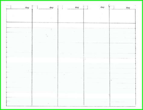 blank 5 day calendar printable calendar template