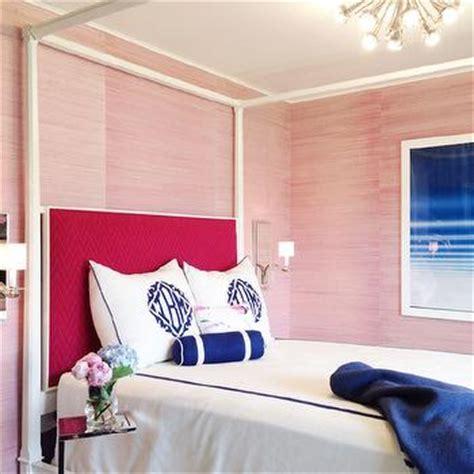 hot pink and blue bedroom hot pink grasscloth wallpaper eclectic bedroom the